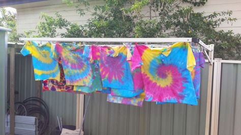 Tie Dyed Shirts Drying
