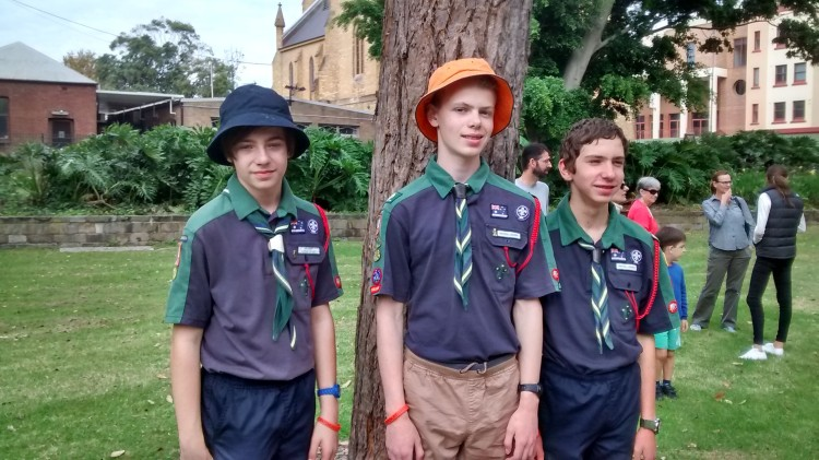 Scouts following ANZAC Day March