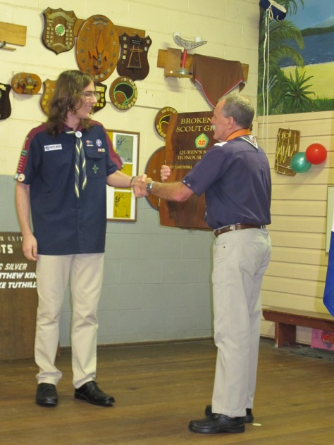 Luke and Kotick Presentation New Queen's Scout Award Plaque
