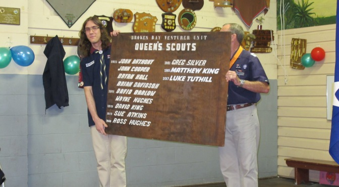 Luke and Kotick Queen's Scout Award Plaque